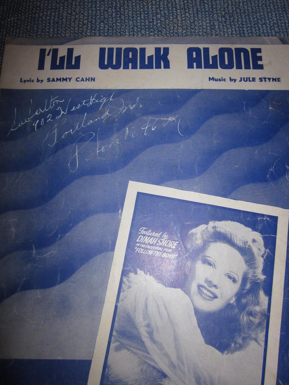 Vintage Sheet Music I'll Walk Alone - Dinah Shore