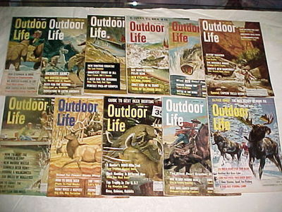 11)ISSUES-1966 Outdoor Life-JANUARY-DECEMBER (NO AUGUST)-HUNT,FISH,TRAP,SHOOT