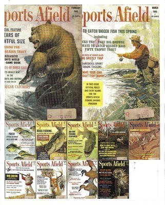 11 Issues-1965 SPORTS AFIELD-February-December-Fish,Hunt,SHOOT,TRAP,OUTDOOR SPOR
