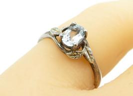 AVON 925 Silver - Vintage Aquamarine Floral Leaf Detail Band Ring Sz 7 -... - $22.48