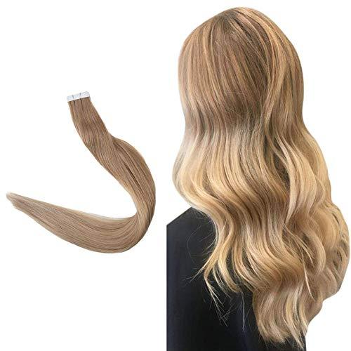 "Easyouth 22"" Adhesive Tape In Hair Extensions 50g 20 pieces Color #12 Fading To"