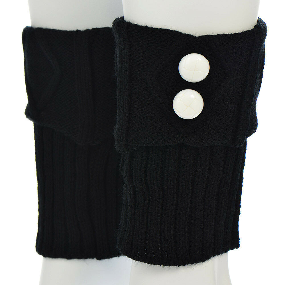 "Primary image for 7"" Black Knit Boot Cuffs with White Buttons"
