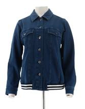Denim & Co Comfy Knit Jean Jacket Rib Trim Medium Wash S NEW A309432 - $28.19