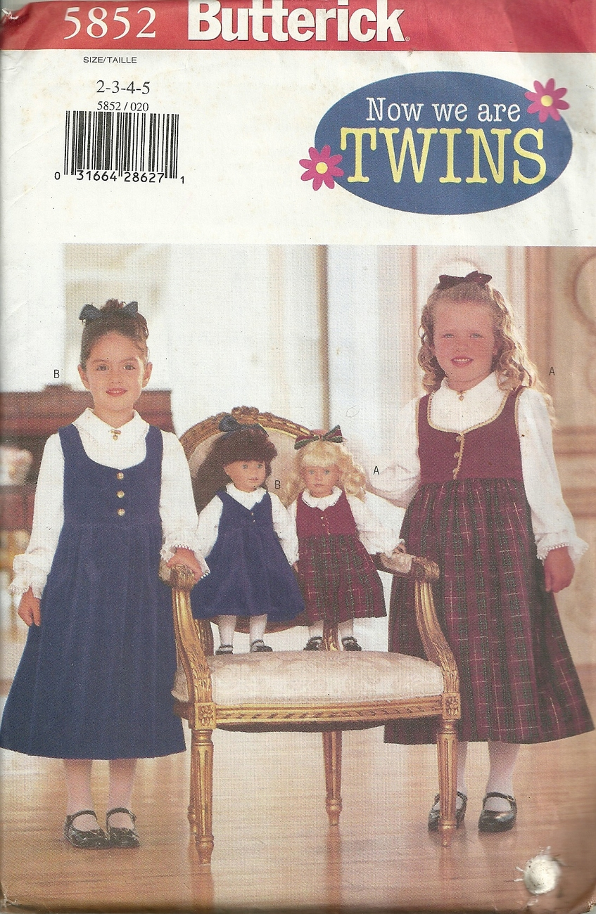 """Butterick 5852 """"Now we are twins"""" Girls and dolls matching clothes Pattern Sz 2-"""