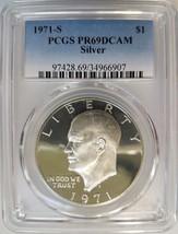 1971 S Eisenhower IKE PCGS PR 69 DCAM SILVER Dollar DMPL PL DPL PF Lamin... - £79.08 GBP