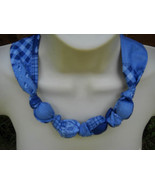 Fabric Knot Statement Necklace - Blue on Blue Patchwork - $13.00