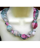 Fabric Knot Statement Necklace - Cabbage Rose Victorian - $13.00