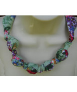 Fabric Knot Statement Necklace  Green Roses Shabby Chic - $13.00