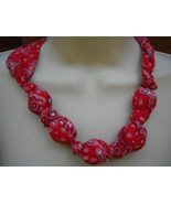 Fabric Knot Statement Necklace -Red Kerchief - $14.95