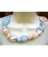 Fabric Knot Statement Necklace - Soft Yellow Blue Patch - $13.00