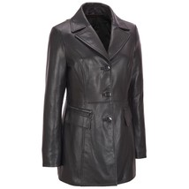 New Three Button Notched Collar Car Coat Women's Genuine Lambskin Leathe... - $229.00