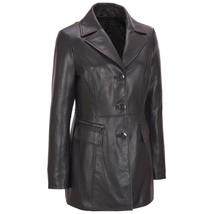 New Three Button Notched Collar Car Coat Women's Genuine Lambskin Leathe... - $229.00