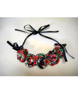 Rolled Fabric Rose Bib Statement Necklace Plaid/Floral - $20.00