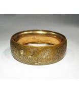 Vintage Gold Filled MM & Co Signed Etched Bangle Bracelet C2997 - $48.28