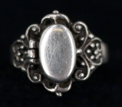 Antique Sterling Poison Ring Ornate Art Nouveau Srolled Oval Top No Init... - $170.99