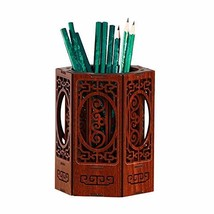 YAPISHI Pens Pencil Holder Cup Desktop Stationery Storage, Wooden Carven... - $22.16