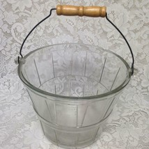Vintage, Glass Bucket with Wooden-Wire Handle 10.5in x 7in x 5in - $33.20