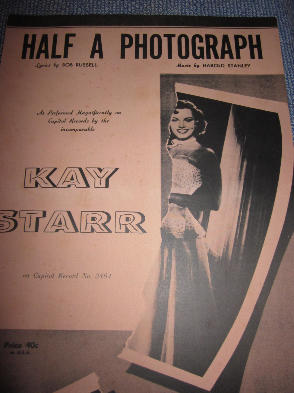 Vintage Sheet Music Half a Photograph by Kay Starr 1953