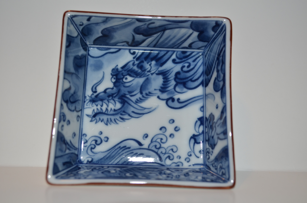 "JAPANESE PORCELAIN KOSAN KILN 3 1/2"" SQUARE DRAGON BOWL"
