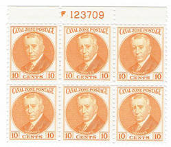 1932 Henry Foote Hodges Plate Block of 6 Canal Zone Stamps Catalog 108 MNH