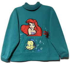 Disney Catalog Girls Youth Green Little Mermaid Ariel Fleece Sweatshirt ... - $17.72