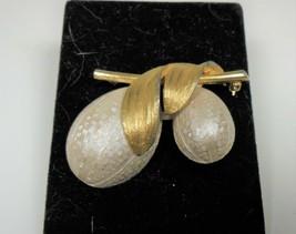 Vintage Gold Tone White Enamel Leaf & Fruit Pin Brooch - $14.84