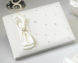 Ivory Pearl Satin Wedding Guest Book  - $22.28