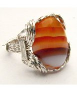 Wire Wrap 925 Silver Red/White Sardonyx Ring an... - $72.00