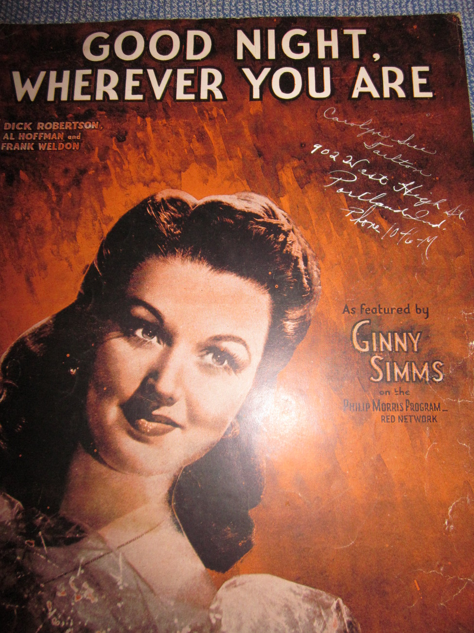 Vintage Sheet Music Good Night Wherever You Are Ginny Simms 1944