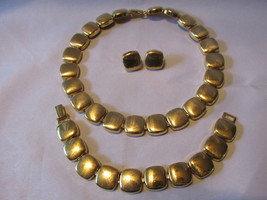 Vintage Napier Gold Toned Square Linked Necklace, Bracelet and Pierced E... - €13,55 EUR