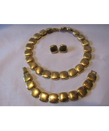 Vintage Napier Gold Toned Square Linked Necklace, Bracelet and Pierced Earrings - £9.53 GBP