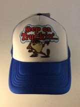 VTG Taz Tasmanian Devi Looney Tunes KEEP ON TRUCKIN Trucker Hat Snapback... - $36.62