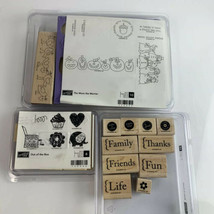 Stampin' Up!  Lot of 3 Holiday Stamp Sets Wood Mounted Rubber Birthday C... - $18.66