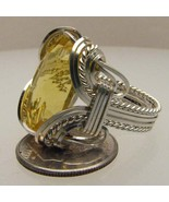 Wire Wrap Sterling Silver Citrine Ring 18x13mm - $150.00