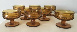 "Lot 8 Vintage Indiana Glass CHAMPAGNE/SHERBET 3"" Amber Kings Crown Thumbprint. - $38.60"