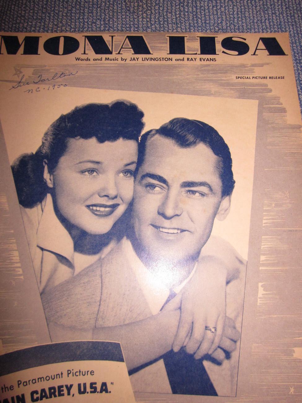 Vintage Sheet Music Mona Lisa from Captain Carey USA Alan Ladd 1949