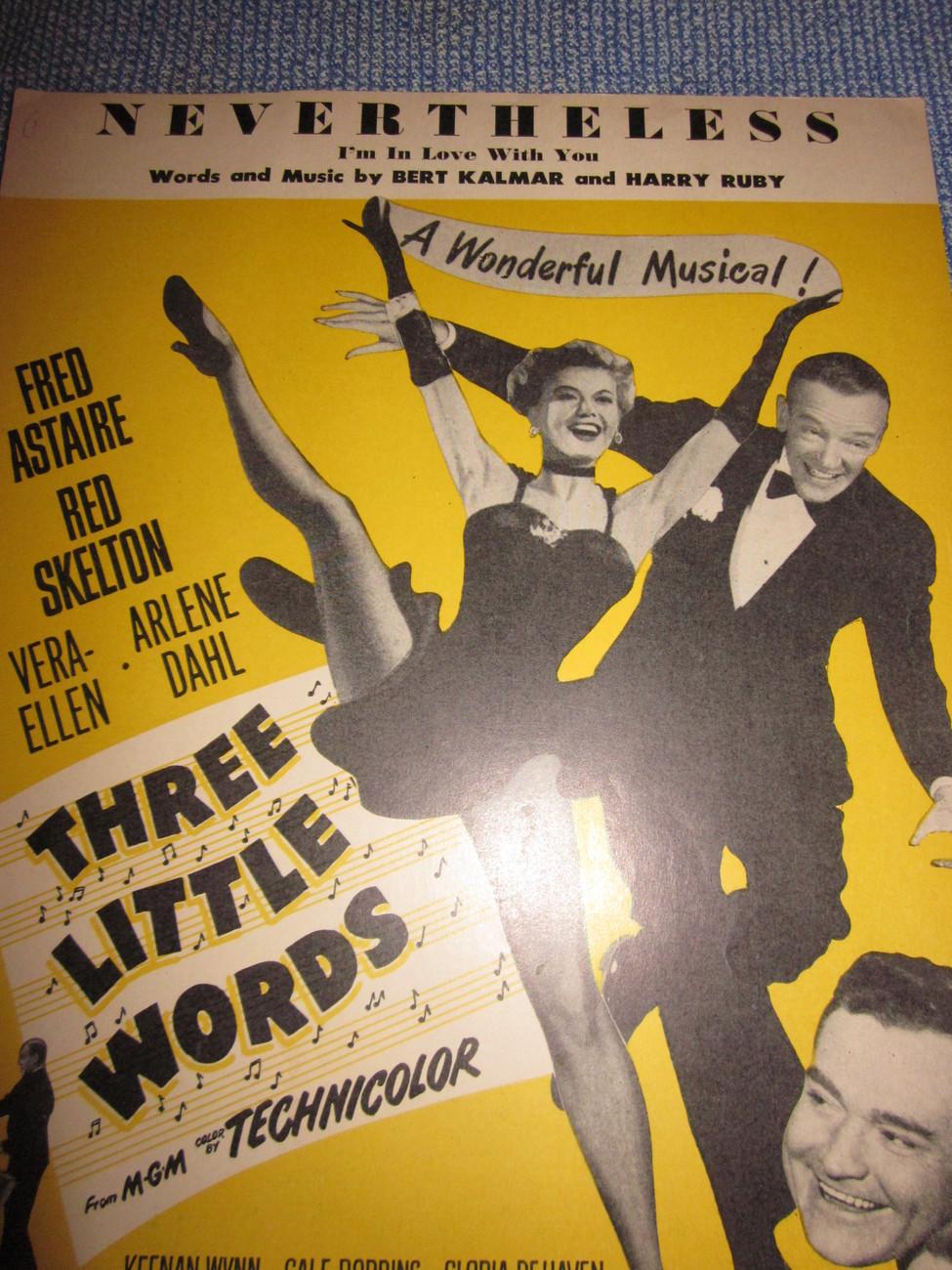 Vintage Sheet Music Nevertheless Three Little Words Movie 1931