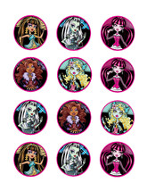 Monster High edible party cupcake toppers cupcake image sheet 12/sheet - $7.80