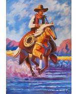 Cowboy On Galloping Horse Oil Painting Western - $167.31
