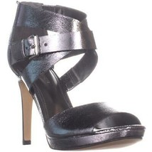 Marc Fisher Marina Bow Tie Zip Up Sandals, Pewter, 7.5 US - $34.55