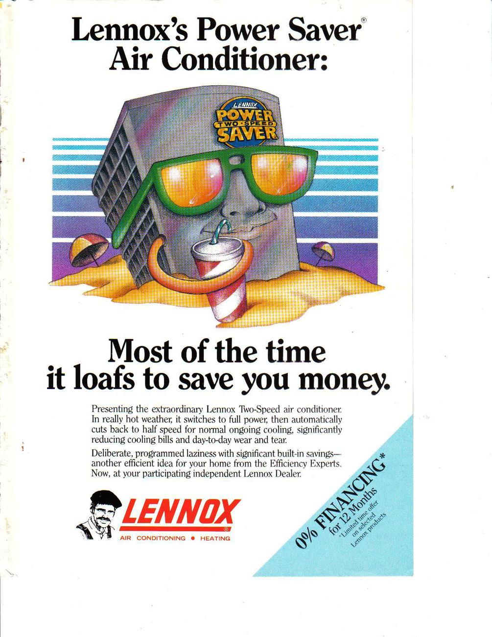 Lennox 1983 Full Page  Print Ad - Most of the time it loafs to save you money.VG