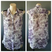 BETTINA LIANO Womens Purple Print Sleeveless Button Down Shirt Top Size 6 - $13.63