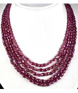 NATURAL UNTREATED RUBY BEADS 5 LINE 433 CARATS GEMSTONE LADIES NECKLACE - $950.00