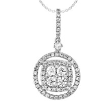 0.45 Ct Round Cut Diamond 14K White Gold Fn Fashion Cluster Pendant Locket - $94.14