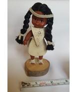 VINTAGE dark brown beautiful skin Indian girl doll figurine pre-owned so... - $15.85