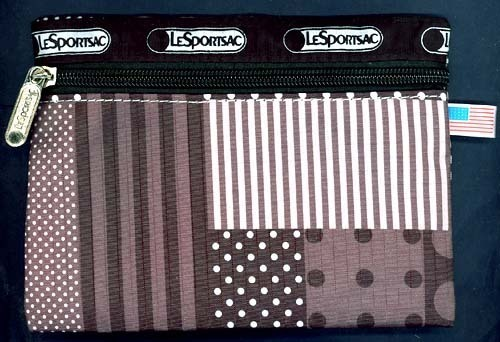 LeSportSac Black White PATCHWORK QUILT Print Fabric Zipper Carry Anything Pouch!