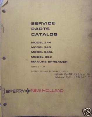 New Holland 344, 345, 345L, 362 Manure Spreaders Parts Manual