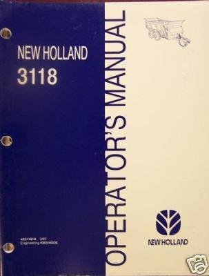 New Holland 3118 Manure Spreader Operator's Manual