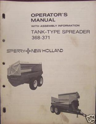 New Holland 368, 371 Manure Spreaders Operator's Manual