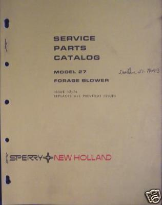 New Holland 27 Forage Blower Parts Manual